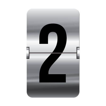 flipboard: Silver flipboard letter 2 from a series of departure board letters.