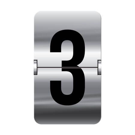 flipboard: Silver flipboard letter 3 from a series of departure board letters. Illustration