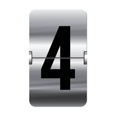 flipboard: Silver flipboard letter 4 from a series of departure board letters.