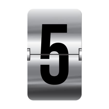 flipboard: Silver flipboard letter 5 from a series of departure board letters. Illustration
