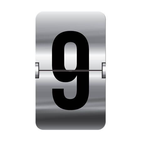 Silver flipboard letter 9 from a series of departure board letters.