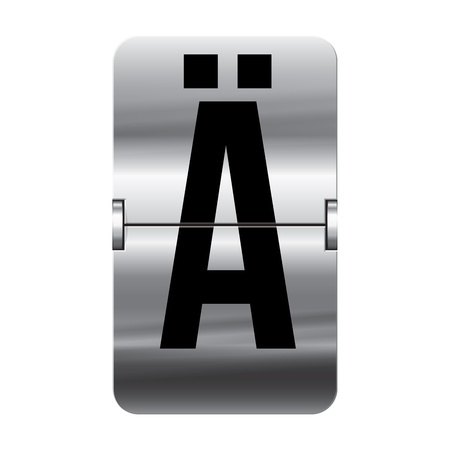 Silver flipboard letter � from a series of departure board letters. Vector