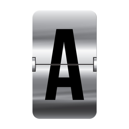 Silver flipboard letter a from a series of departure board letters. Illustration