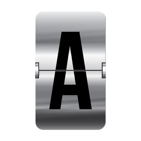 flipboard: Silver flipboard letter a from a series of departure board letters. Illustration