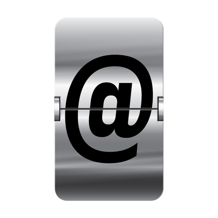 flipboard: Silver flipboard letter at from a series of departure board letters.
