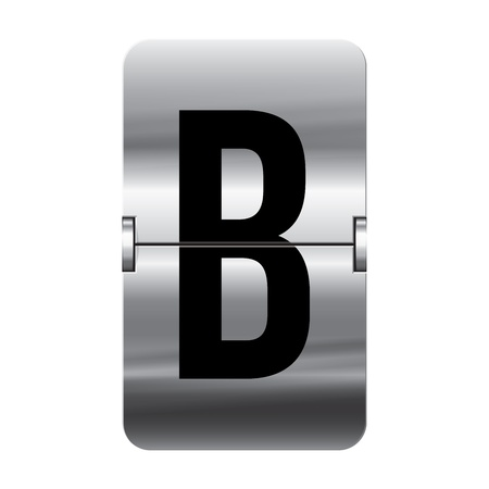 Silver flipboard letter b from a series of departure board letters.