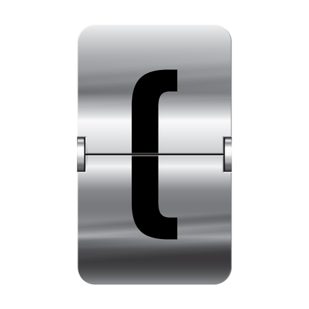 Silver flipboard letter brackets begin from a series of departure board letters. Vector