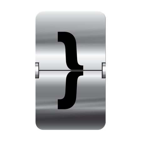 Silver flipboard letter curly brackets end from a series of departure board letters. Vector