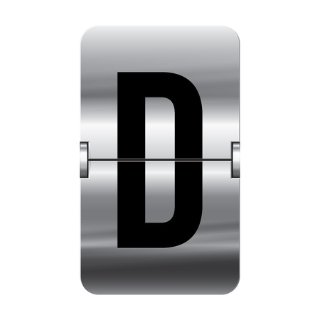 Silver flipboard letter d from a series of departure board letters.