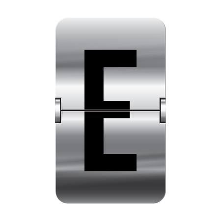 Silver flipboard letter e from a series of departure board letters.
