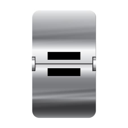 flipboard: Silver flipboard letter equal from a series of departure board letters. Illustration