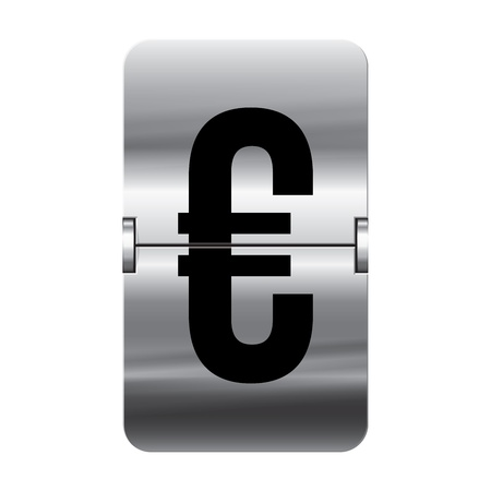 Silver flipboard letter euro from a series of departure board letters. Illustration