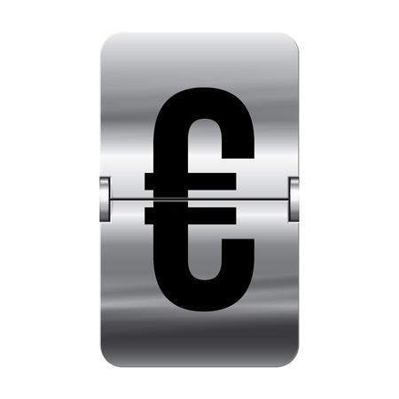 flipboard: Silver flipboard letter euro from a series of departure board letters. Illustration