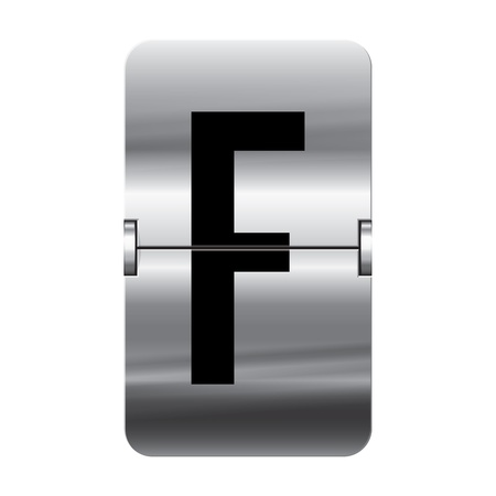 Silver flipboard letter f from a series of departure board letters.