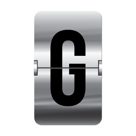 Silver flipboard letter g from a series of departure board letters. Illustration