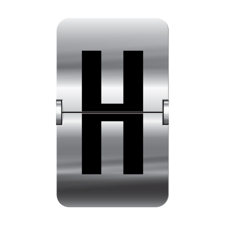 Silver flipboard letter h from a series of departure board letters.