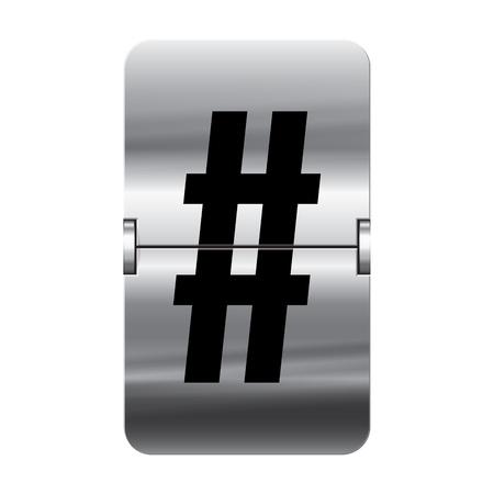 flipboard: Silver flipboard letter hash from a series of departure board letters.