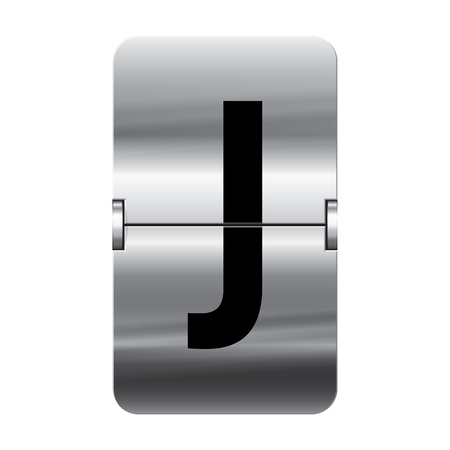 Silver flipboard letter j from a series of departure board letters. Illustration