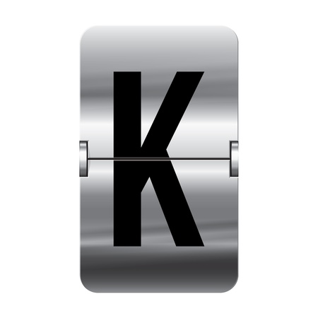 Silver flipboard letter k from a series of departure board letters.