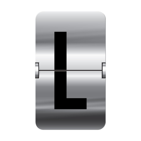 Silver flipboard letter l from a series of departure board letters.