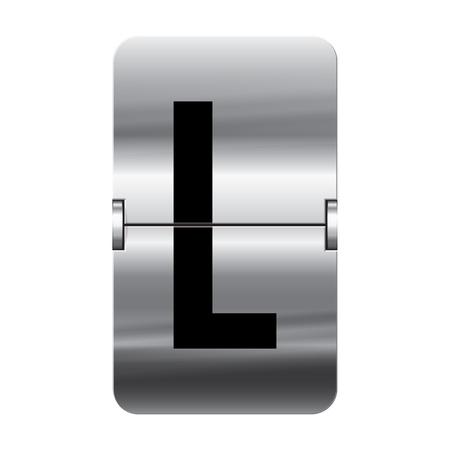 departure board: Silver flipboard letter l from a series of departure board letters.