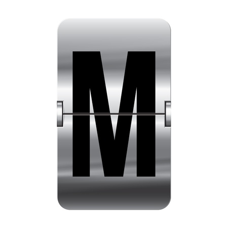 Silver flipboard letter m from a series of departure board letters.