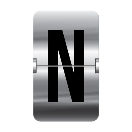 Silver flipboard letter n from a series of departure board letters.