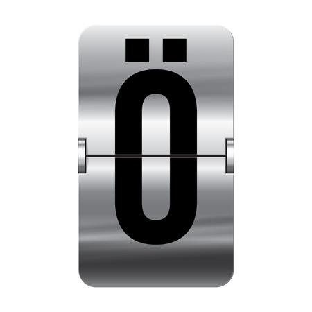 flipboard: Silver flipboard letter ö from a series of departure board letters.