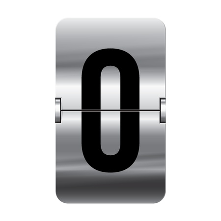 Silver flipboard letter o from a series of departure board letters. Vector