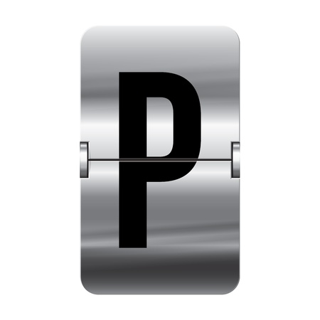 Silver flipboard letter p from a series of departure board letters.