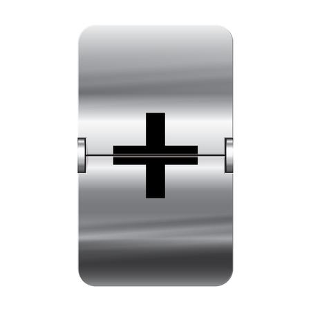 flipboard: Silver flipboard letter plus from a series of departure board letters.