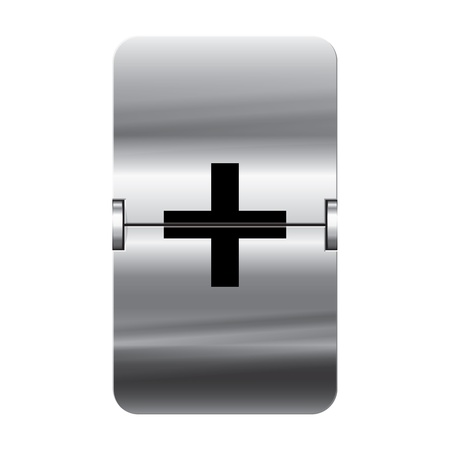 Silver flipboard letter plus from a series of departure board letters.