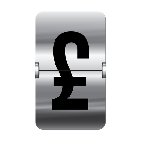 Silver flipboard letter pound from a series of departure board letters. Vector