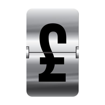 flipboard: Silver flipboard letter pound from a series of departure board letters.
