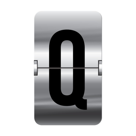 Silver flipboard letter q from a series of departure board letters.
