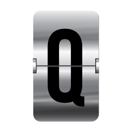 flipboard: Silver flipboard letter q from a series of departure board letters.