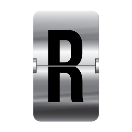Silver flipboard letter r from a series of departure board letters.