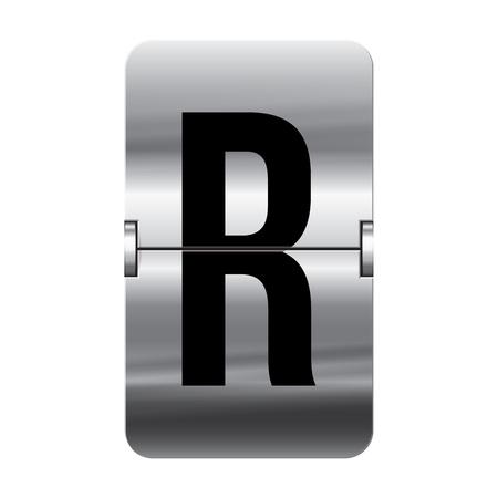 flipboard: Silver flipboard letter r from a series of departure board letters.