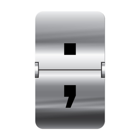 flipboard: Silver flipboard letter semicolon from a series of departure board letters.