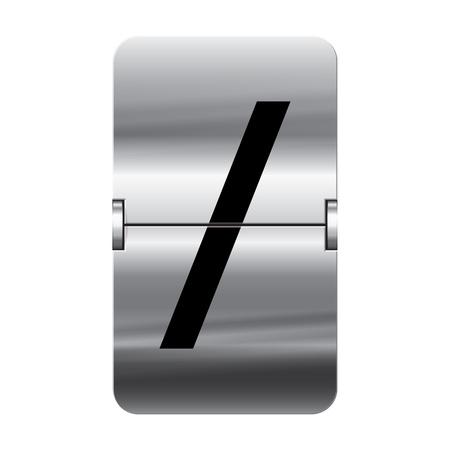 flipboard: Silver flipboard letter slash from a series of departure board letters.