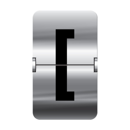 Silver flipboard letter square brackets begin from a series of departure board letters. Vector