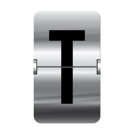 Silver flipboard letter t from a series of departure board letters. Illustration