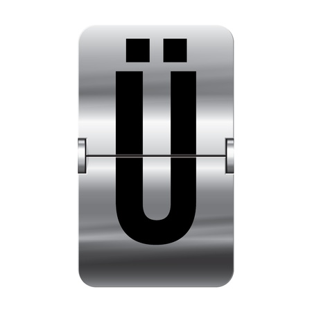 Silver flipboard letter ü from a series of departure board letters. Vector