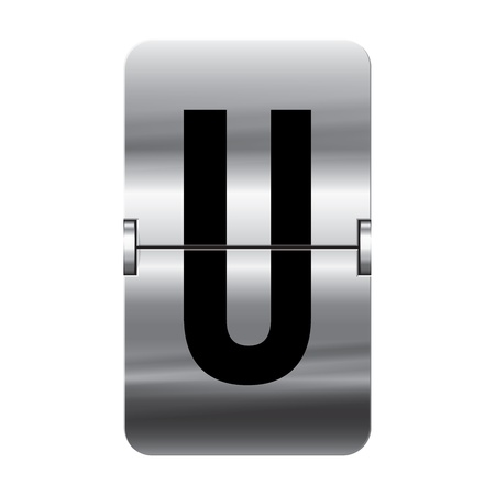 Silver flipboard letter u from a series of departure board letters. Illustration