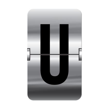departure board: Silver flipboard letter u from a series of departure board letters. Illustration
