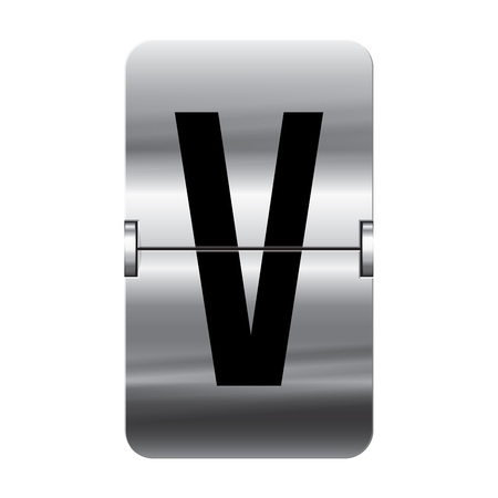 Silver flipboard letter v from a series of departure board letters. Vector