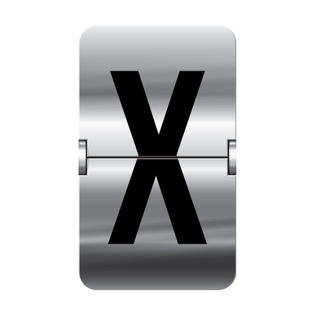 Silver flipboard letter x from a series of departure board letters. Vector