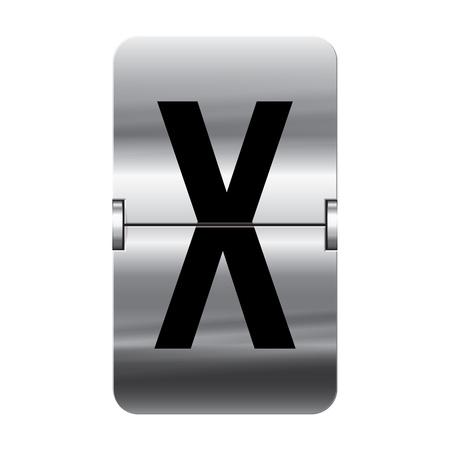 flipboard: Silver flipboard letter x from a series of departure board letters. Illustration