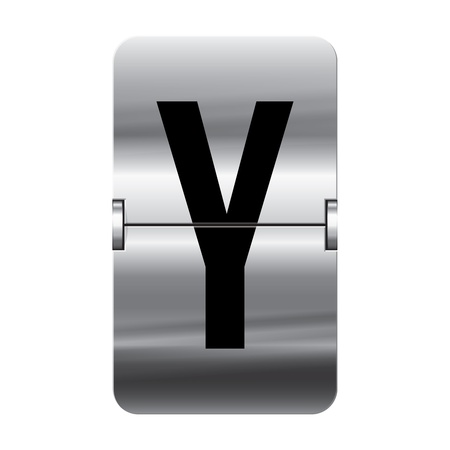 Silver flipboard letter y from a series of departure board letters.
