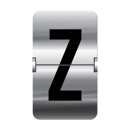 Silver flipboard letter z from a series of departure board letters.